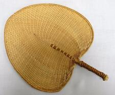 Vintage Oriental Bamboo & Woven Straw Face Screen Fan