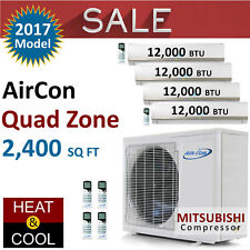 48000 BTU Quad Zone Ductless Mini Split Air Conditioner Heat Pump 12K 12K 12K 12