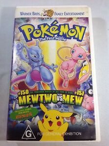 Pokemon The First Movie Mewtwo VS Mew & Pikachu's Vacation VHS Cassette Tape WB