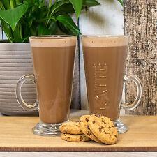 Set di 2 bicchieri da latte macchiato in rilievo 240 ML 24 CL Vetro Trasparente Tazze Tè Caldo Caffè TAZZE