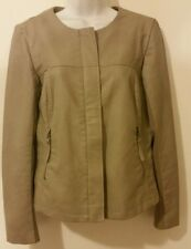 Apt. 9 Jacket Women Lined Tan Zipper Small 2 Pocket Faux-Leather