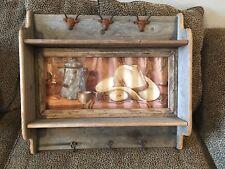 Rustic Texas Western Rack Hat Coat Hanger Wall Hooks Old Organizer Shelf Cowboy