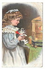 Victorian Trade Card Dr Free's York PA Dental Parlors Girl w Kitten and Canary