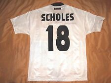 RARE MANCHESTER UNITED #18 SCHOLES CHAMPIONS AWAY  Football Shirt Jersey 1997