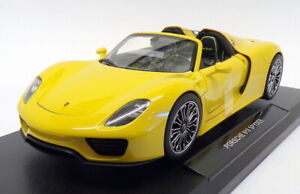 Welly 1/18 Scale Model Car 18051W - Porsche 918 Spyder - Yellow