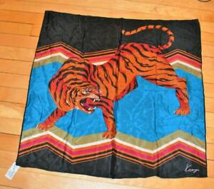 "VTG Kenzo Designer Tiger women Square Wrap scarf Handkerchief 25"" x 25"" BLUE BLK"