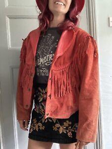 Vintage 80s Orange Suede & Leather Jacket Tassels Fringe Biker Rock Boho Medium