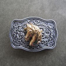 Western Flower Pattern Horse Head Metal Belt Buckle