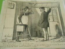 Caricature 1853 - Le Peintre Joli petit atelier avec jardin chambre à louer