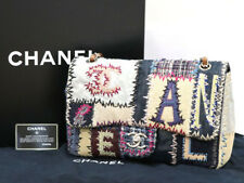 b3144b7099 Chanel Patchwork Chain Shoulder Bag Multi Fabric Color Denim Leather Ex