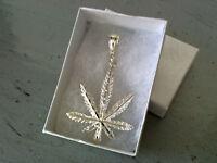 OKer Diamond Cut Marijuana Pendant In 925 Sterling Silver 7.2 Grams 41mm X 61mm