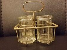 "Metal Wire Case Three Bottles Clear Glass Mini Bottle 2.25""H Vintage Antique"