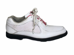 Footjoy Junior G3 Girls Spiked Golf Shoes Size 6 White/Pink #45095