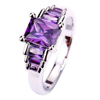 Engagement Emerald Cut Amethyst Purple Gemstone Silver Ring Size 6 7 8 9 10 New