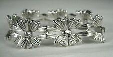 Crown Trifari Bracelet Links Silver Tone Leaf Vintage Signed Silvertone 6.75 In