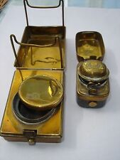Two travel mini ink wells one victorian and one feather quill pen holder