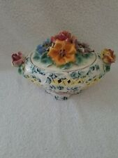 Vintage Signed Italian Made Hand Painted Reticulated Ceramic Bowl with Lid 1982
