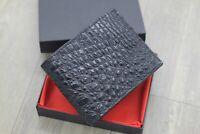 DOUBLE SIDE Black Genuine Crocodile Alligator Leather Wallet Men's Bifold