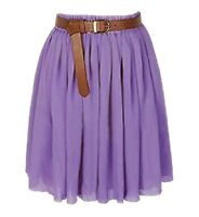 M PURPLE | Lady Women Chiffon Mini Skirts Pleated Retro High Waist Double Layer