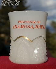 ANTIQUE original ANAMOSA IOWA souvenir white milk glass TOOTH PICK holder