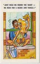SAUCY POSTCARD - seaside comic, sexy woman window cleaner block tackle BOB C4738