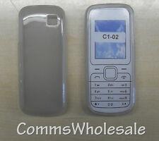 Gris/Translúcido protectora de piel de silicona gel caso para Nokia C1-02 - Nuevo