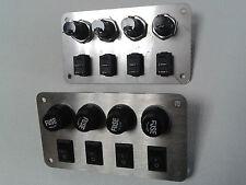 Schalterpanel Sicherungspanel 4x Ein-Aus Schalter Edelstahlblende sehr klein NEU