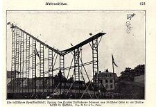 Pariser Radfahrer Schreyer springt von einer 36 Meter hohen Rampe 1906