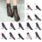 Charm Women Lady Lace Ruffle Fishnet Mesh Black Ankle Socks Anklet Short Socks