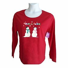 Red Christmas XMAS Snowman Holiday Shirt Top Blouse Plus Size 1x JMS NWT