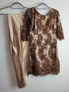 2 Piece Handmade Silky Feel Indian Salwar Kameez Fancy Wear Wedding Size XS 6