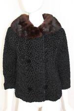 Vintage Black Curly Persian Lamb Jacket Coat Brown Mink Collar Fur - Size Small