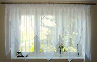 AG18 Moderne Fertiggardine aus Voile NEU Top Design SET Schöne Gardine Weiß