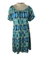 Kim Rogers dress size L large stretch knit blue green cotton short  sleeve