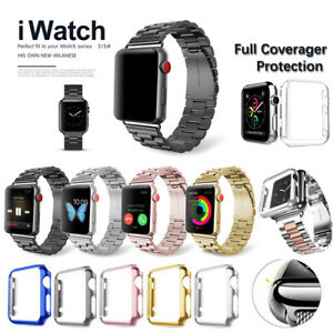 Stainless Steel Band with Screen Protector Case For Apple Watch 38/40/42/44mm