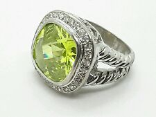 Vintage Sterling Silver Green Stone Cz Ring Sz 6,5