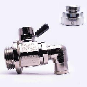EZ Engine Oil Drain Valve EZ-211, L-Shaped Hose End L-002 & Adapter A-211 Combo