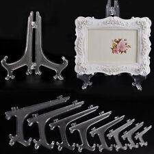 "Clear Plastic Plate Display Stand Picture Frame Easel Holder 3""5""7""9"" Useful A"