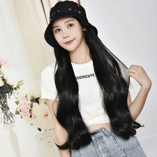 Women Lady Bucket Hat Wig With Long Wavy Curly Hair Synthetic Ombre Wigs Black