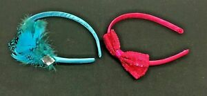 Girl's Satin Fabric Headbands Pink & Blue, Feather & Sequined Bow -Set of 2