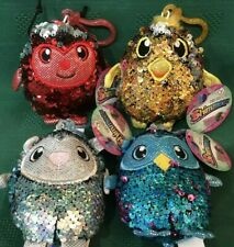 S/4 New Shimmeez Reversible Sequins Clip-On Plush Toys ~Valentines Easter Gifts