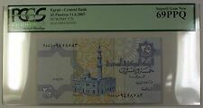 11.6.2007 Egypt Central Bank 25 Piastres Note SCWPM# 57h PCGS GEM New 69 PPQ