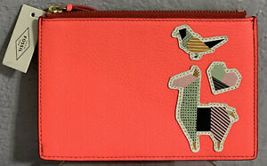 Fossil Llama Bird RFID Small Pouch Neon Leather Bag