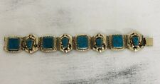 Vintage Mid Century Taxco Mexico Turquoise Sterling Bracelet Articulated