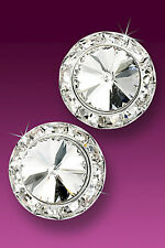 Dance Competition 20mm Clear Rivoli & Rhinestone Performers Button Post Earrings