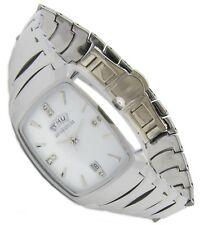Luxus Tungsten Wolfram Herren Armband Uhr Datum CZ Diamant Jakobsburg Tag Silber