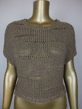 COUNTRY ROAD TOP WOVEN KNIT TANK SWEATER CROCHET BLOUSE TOP M