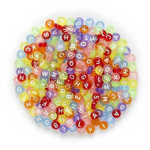 100 Piece Random Mixed Round Letter Beads Acrylic Spacer Alphabets 7mm
