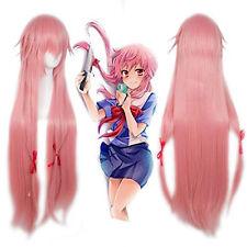 Murata Tomosa Mirai Nikki Gasai Yuno Cosplay Wig Long Synthetic Pink Hair Wigs