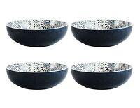 "American Atelier Stoneware Bowl Set Of 4 Multi Purpose Stackable 8.5"" Blue White"